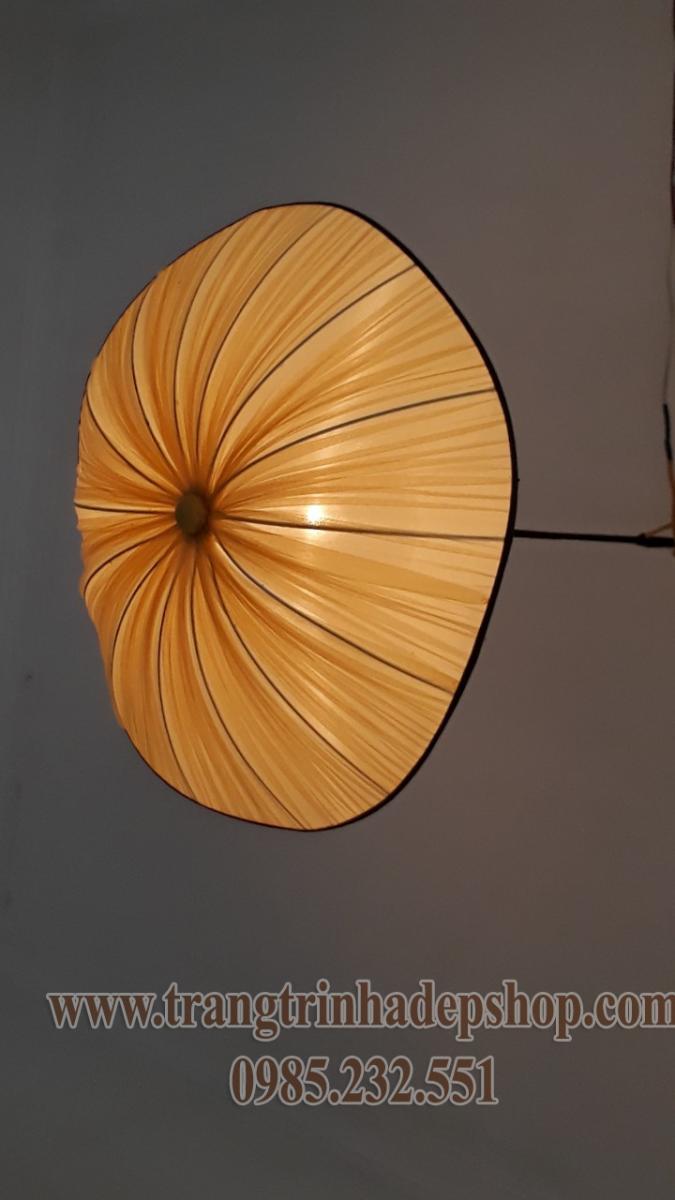 Đèn lụa thả trần kiểu vải nhăn mẫu 09
