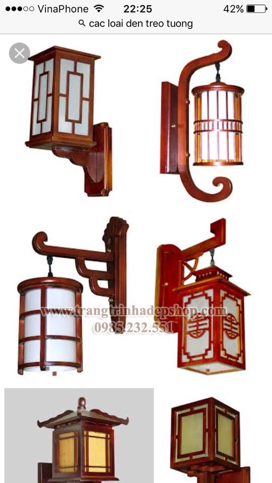 Đèn ốp tường khung gỗ mẫu 09