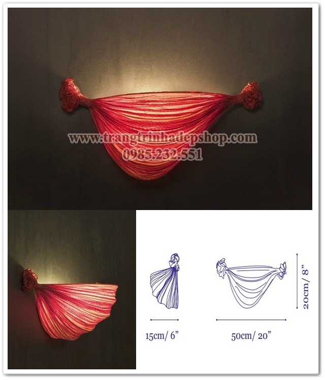 Đèn vải nhăn ốp tường mẫu 19